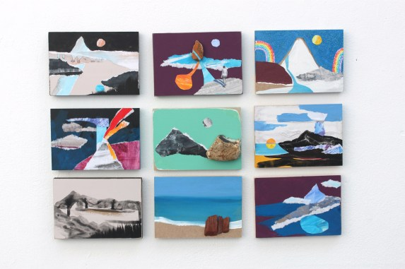 Jenny Leonard. Landscape Assemblage. 2011. Mixed media collages on board. 10 x 15cm each