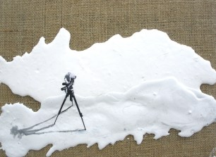 Tripod on Hessian Canvas Plaster landscape