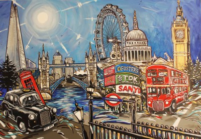 London Painting landscape with the shard