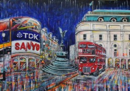 Picadilly Circus Painting at night