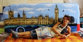 Bus in London painting