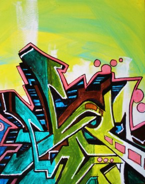 graffiti style writing on canvas