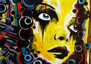 girls portrait, yellow street art on board