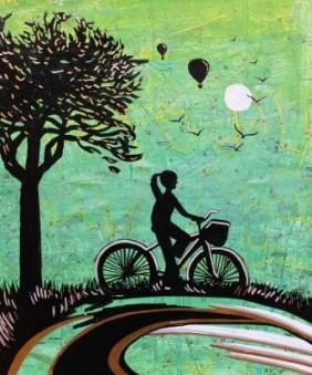Cycle London. Jenny Leonard 45 x 50cm in frame