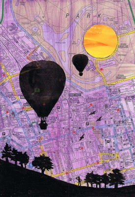 Hot Air Balloon over London Painting