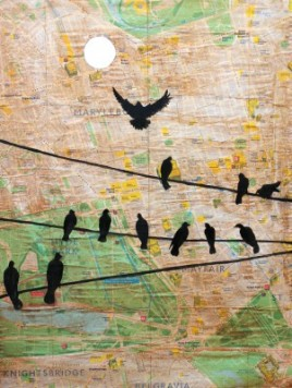 London birds map Jenny Leonard 30 x 40cm