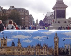 Routemaster-60-Year-of-the-Bus-sculpture-Trafalgar-Square-launch-TfL-Wild-in-Art-Jenny-Leonard-Westminster-Bus-with-Big-Ben-in-background