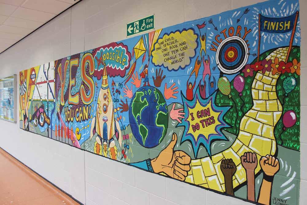 School values mural painting Jenny Leonard Art