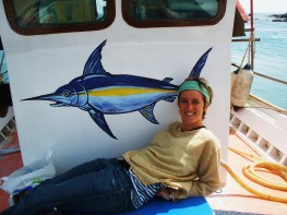 Painting on boat in Greece