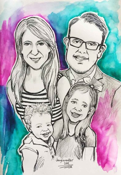 Commission caricature family portrait painting